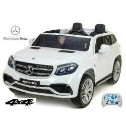 Dvojmiestný Mercedes GLS63 4x4,EVA kolesá,2,4G DO,LED osvetlenie,pérovanie,voltmeter,FM,USB,TF,čalunené sedačky,lakovaný biely