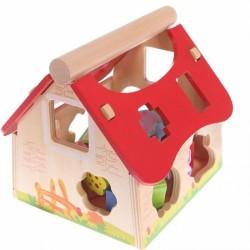Drevený domček, vkladačka ECO TOYS - Farma sa zvieratkami