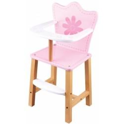 Drevená jedálenská stolička pre bábiky - Kvetinka