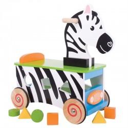 Edukačné drevené odrážadlo Zebra