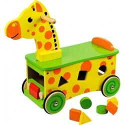 Edukačné drevené odrážadlo Žirafka