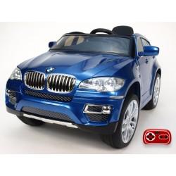 BMW X6 s 2,4G bluetooth DO, EVA kolesami, otváracími dverami,12V, čalunenou vyšívanou sedačkou, lakovaná modrá metalíza