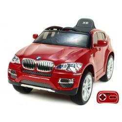 BMW X6 s 2,4G bluetooth DO, EVA kolesami, otváracími dverami,12V, čalunenou vyšívanou sedačkou, vínové nelakované