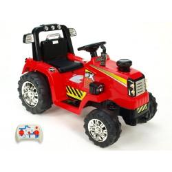Traktor 12V s 2,4G  DO, s mohutnými kolesami a konštrukciou, svetelnými LED efekty, 2xnáhon, červený