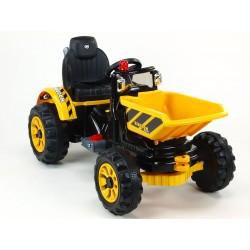 Traktor Kingdom s výklopnou korbou, mohutnými kolesami a konštrukciou, 2x motor 12V, 2x náhon, modrý