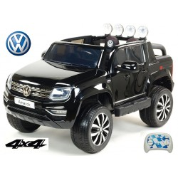 Dvojmiestný Volkswagen Amarok  s 2.4G DO,4x4, EVA kolesami, otváracími dverami, LED, FM, USB,lakovaný čierny