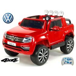 Dvojmiestný Volkswagen Amarok  s 2.4G DO,4x4, EVA kolesami, otváracími dverami, LED, FM, USB,lakovaný červený