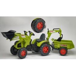 Šlapací traktor Claas Axos 330 s 2 funkčnými lyžicami, 2 kolesovým výklopným valníkom, gumovými pásmi, dĺžka 225cm