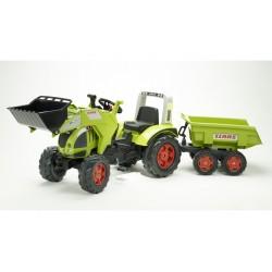 Šlapací traktor Claas Axos 540 s funkčnou prednou lyžicou, 4 kolesovým výklopným valníkom, dĺžka 225cm