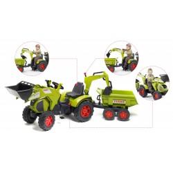 Šlapací traktor Claas Axos 330 s 2 funkčnými lyžicami, 2 kolesovým valníkom, dĺžka 204 cm