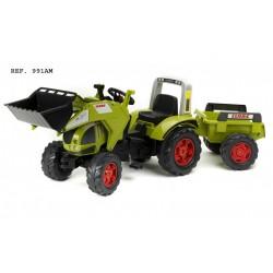 Šlapací traktor Claas Axos 540 s funkčnou prednou lyžicou, 2 kolesovým valníkom, dĺžka 204 cm