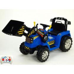 Traktor 12V s 2,4G  DO,s plynulým rozjazdom,ovládateľnou lyžicou,mohutnou konštrukciou,LED efektami, 2xnáhon, modrý
