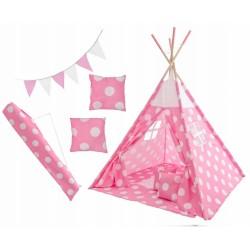 Stan pre deti teepee, típí s výbavou - Bodky, 120x120x180 cm, růžovo/biely