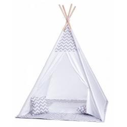 Stan pre deti teepee, típí s Výbavou - - bílo/šedy