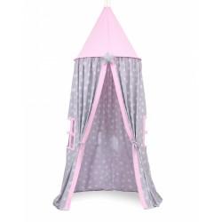 Stan pre deti, závesný stan - hviezdičky na šedom / ružový
