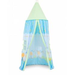 Stan pre deti, závesný stan - šnek modrý / zelený