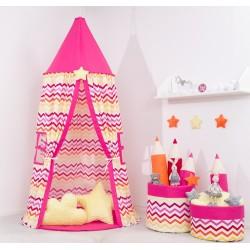 Stan pre deti, závesný stan - farebný cik cak / malina