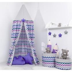 Stan pre deti, závesný stan - fialový cik cak / sivý
