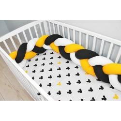 Mantinel pletený vrkoč s obliečkami Mickey - biela, žltá, čierna