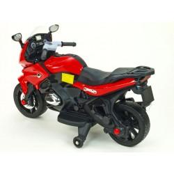 Cestná závodná motorka, 12 V, 2x motor, EVA kolesá, voltmeter, USB, TF, Mp3, LED osvetlenie