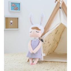 Handrová bábika Metoo s uškami v lila šatičkách, 42cm
