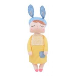 Handrová bábika Metoo XL s uškami v žltých šatičkách, 70cm