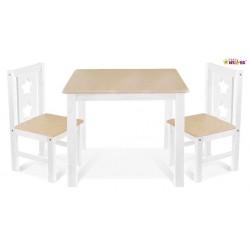 BABY NELLYS Detský nábytok - 3 ks, stôl s stoličkami