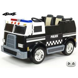 Dvojmiestný policajný bus 4x4 s 2,4 G DO, megafónom, sirénou, majákom, USB, MP3, voltmetrom, EVA kolesami