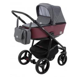 Kombinovaný kočík Adamex Reggio Premium - Tmavošedá/Bordová Y60