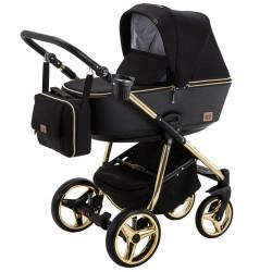 Kombinovaný kočík Adamex Reggio Gold - Čierna/Zlatá