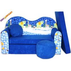 Rozkladacia sedačka tvarovaná ZOO modrá
