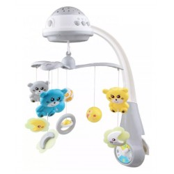 Kolotoč nad postieľku so svetelným projektorom Baby Mix Medvedíky