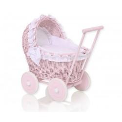 Prútený kočík pre bábiky ružový