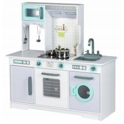 Eco Toys Drevená kuchynka s príslušenstvom, 96,5 x 96 x 37 cm - šedá