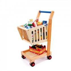 Detský drevený nákupný vozík