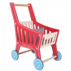 Detský drevený nákupný vozík Supermarket