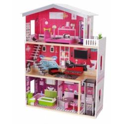 Drevený domček pre bábiky s výťahom - Rezidencie Malibu