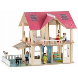 Drevený domček pre bábiky s balkónom - Rezidence Modern
