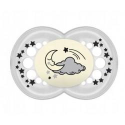 Symetrický cumlík Mam Night, svietiace, mesiac a hviezdičky - ecru