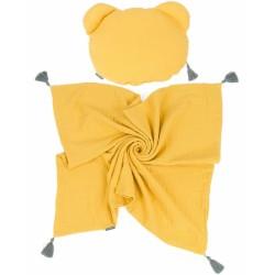 Mamo Tato mušelínová sada vankúšik Teddy Lux double s dekou
