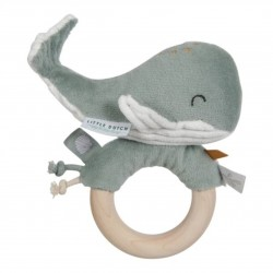 Hrkálka plyšová veľryba na drevenom krúžku s hryzačkou ocean mint