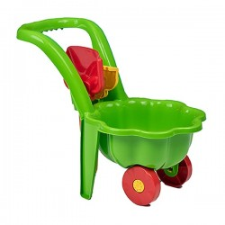 Detský záhradný fúrik s lopatkou a hrabličkami