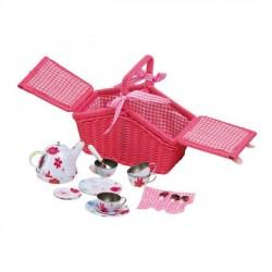 Piknikový ružový kôš s nádobami