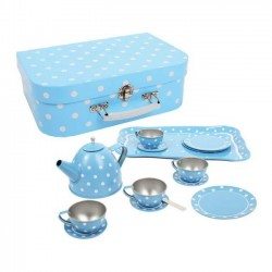 Modrý bodkovaný čajový set