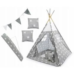 Stan pre deti teepee, típí s výbavou - Hviezdy, 120x120x180 cm, sivo/biely